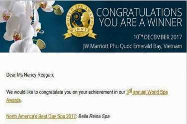 {WE WON!} World Spa Award for Best Day Spa in North America