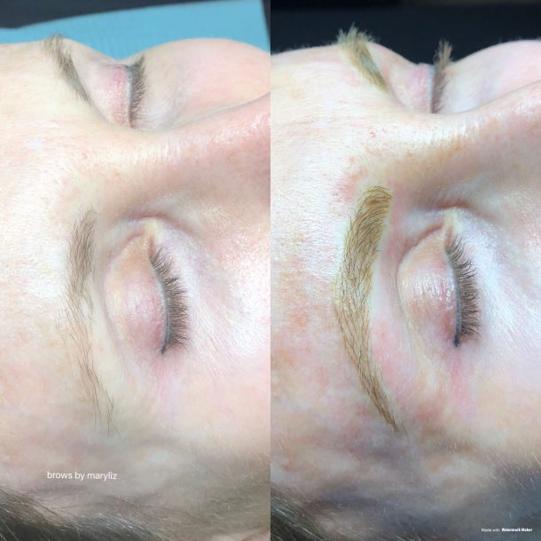 Before after Microblading 3D eyebrow