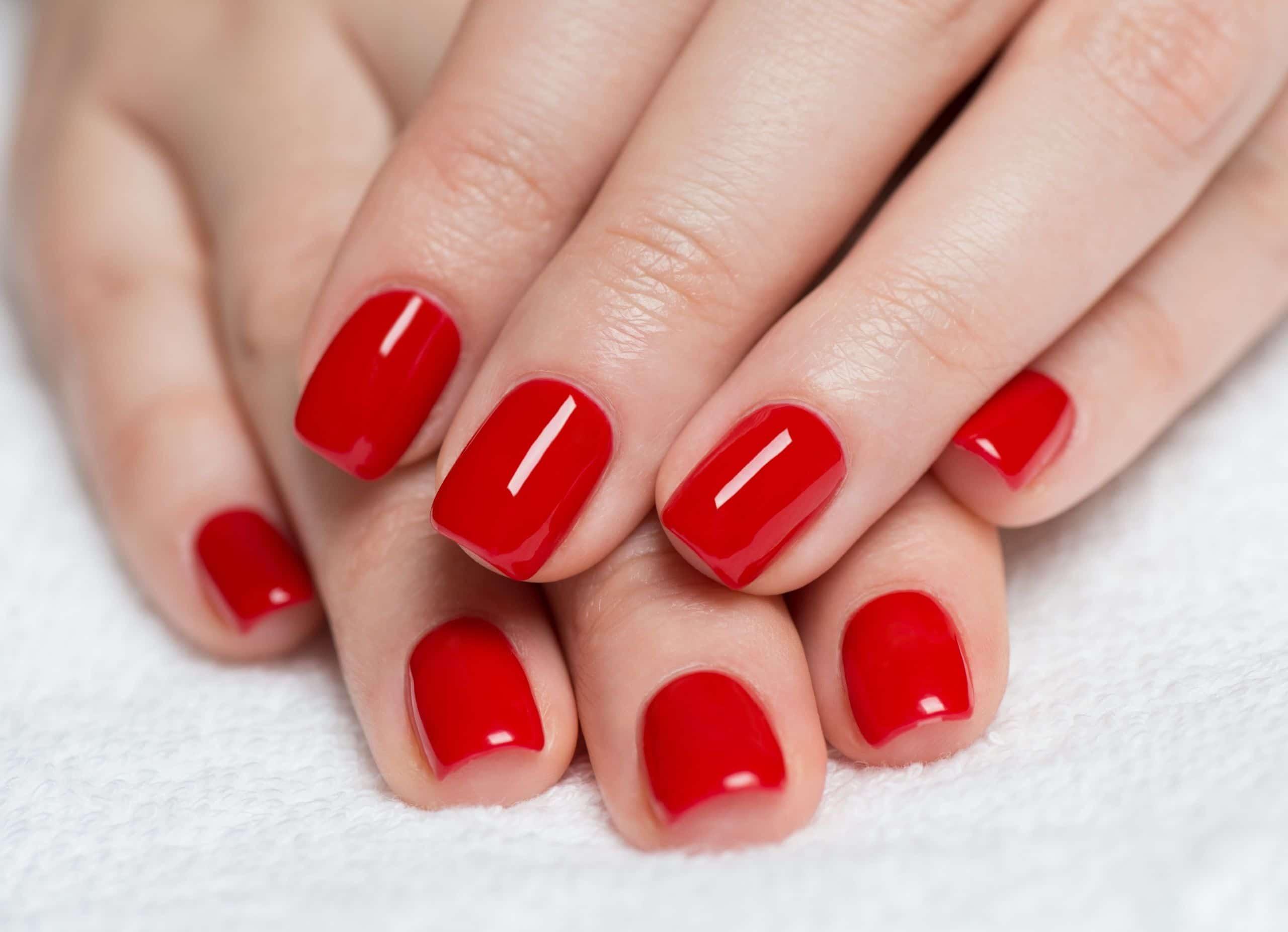 CND Shellac red nail polish manicure