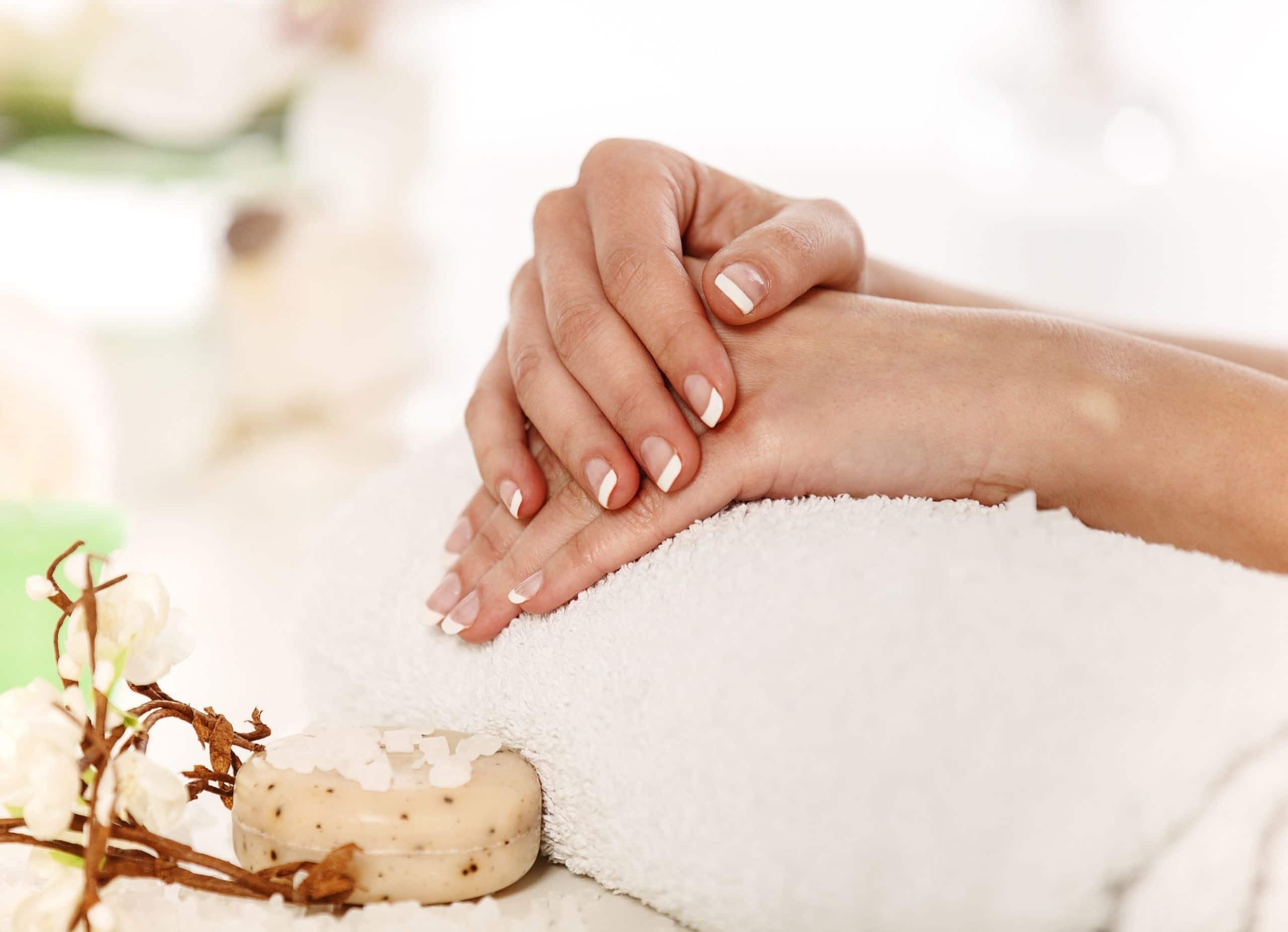 Wellness natural nail manicure at day spa